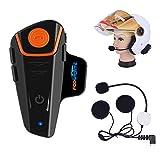 Fodsports BT-S2 Bluetooth Motorrad Intercom Headset Wasserdicht Helm Gegensprechanlage Wireless Sprechanlage mit 1000m, GPS, FM Radio, MP3 Player, Verbinden bis zu 3 Reiter (1 Packung hartes Kabel)