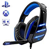 Beexcellent Gaming Headset für PS4, Surround Bass Sound Professional Kopfhörer mit Mikrofon LED Licht für Xbox One PC Laptop Mac Tablet